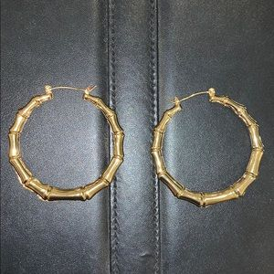 Ettika gold bamboo hoop earrings